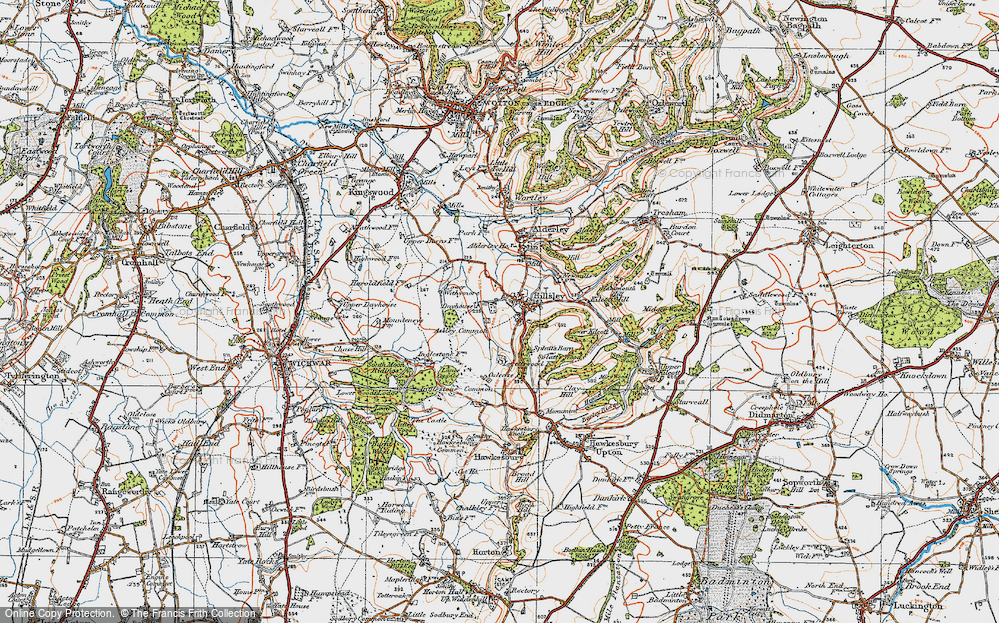 Old Map of Historic Map covering Assley Common in 1919