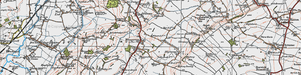 Old map of Hilmarton in 1919