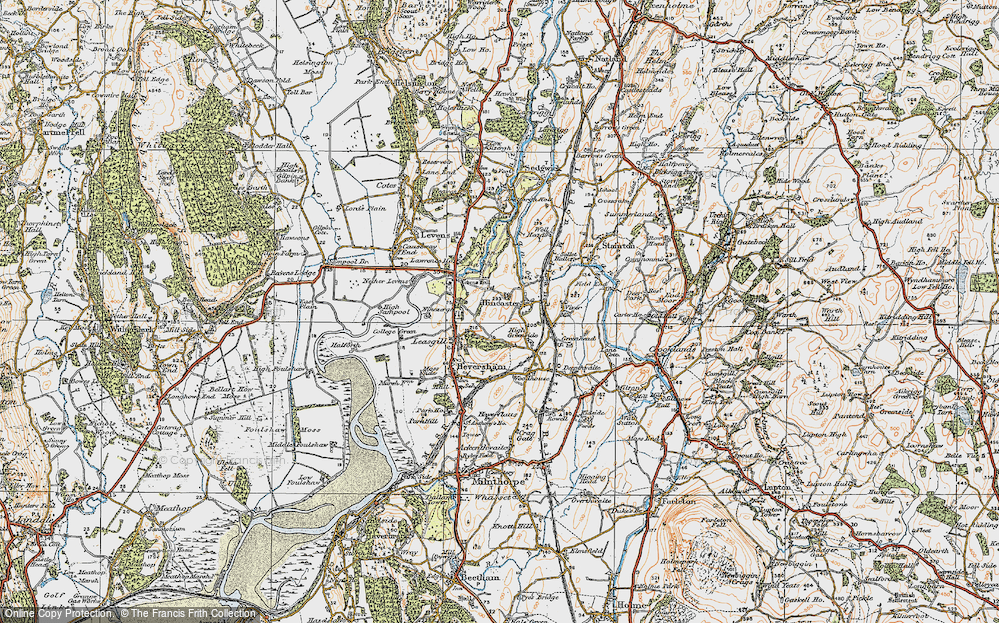 Old Map of Historic Map covering Levens Park in 1925