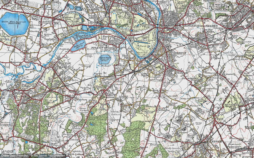 Old Map of Hinchley Wood, 1920 in 1920
