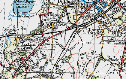 Old map of Hinchley Wood in 1920