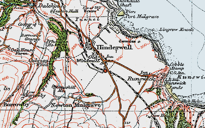 Old map of Hinderwell in 1925