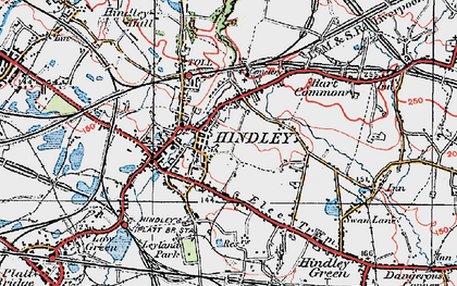 Old map of Hindley in 1924