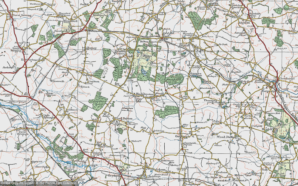 Old Map of Historic Map covering Wood Severals in 1921