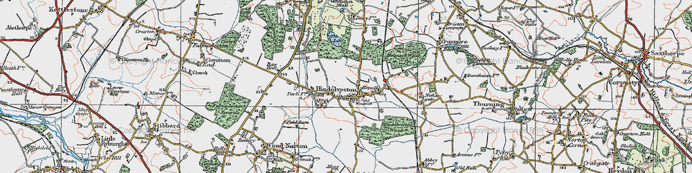 Old map of Wood Severals in 1921
