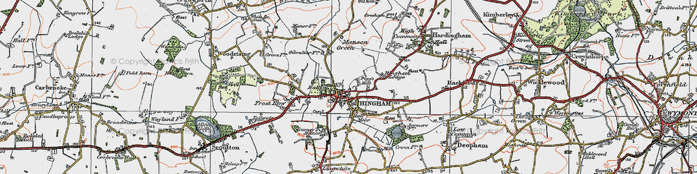 Old map of Hingham in 1921