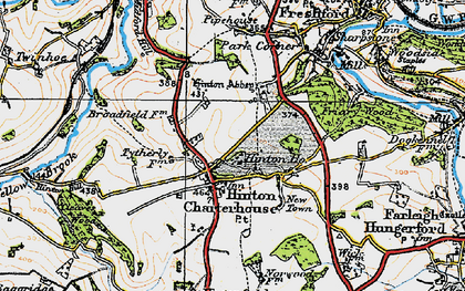 Old map of Hinton Charterhouse in 1919
