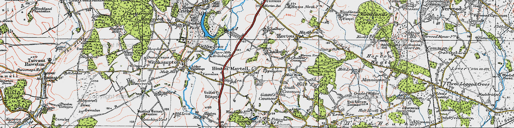 Old map of Hinton Martell in 1919