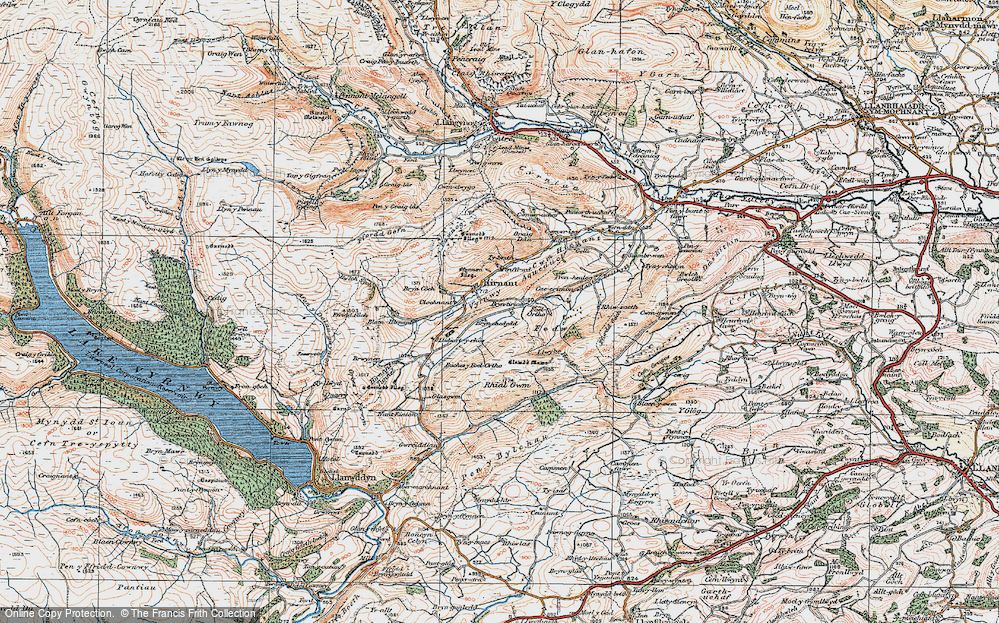 Old Map of Historic Map covering Bryn Coch in 1921