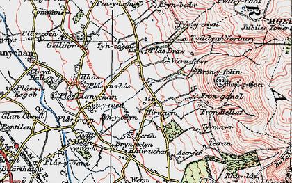 Old map of Hirwaen in 1924
