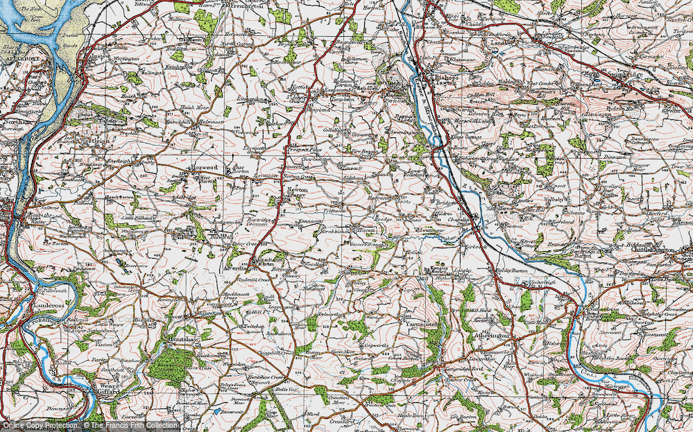 Old Map of Historic Map covering Linscott in 1919