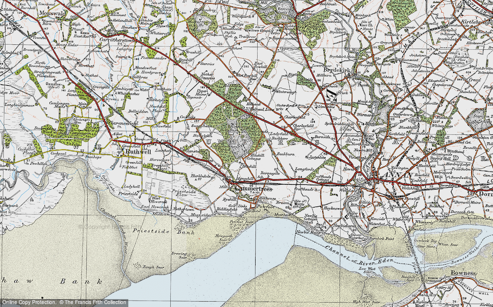 Old Map of Historic Map covering Backburn in 1925