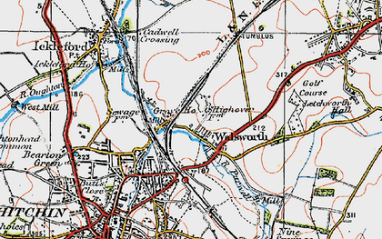 Old map of Hitchin in 1919