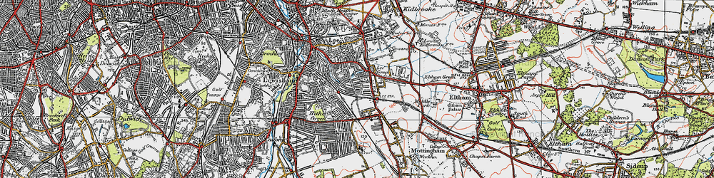 Old map of Hither Green in 1920