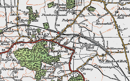 Old map of Hockley in 1921