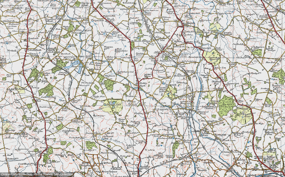 Old Map of Historic Map covering Aylesbury Ho (Hotel) in 1919