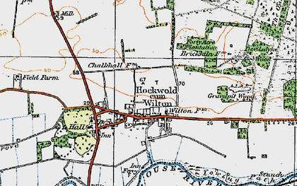 Old map of Wilton Br in 1920