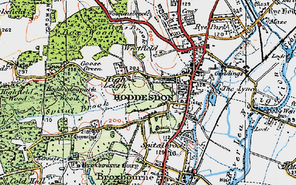 Old map of Hoddesdon in 1919
