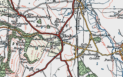 Old map of Hodnet in 1921
