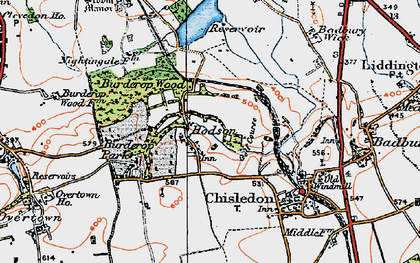 Old map of Hodson in 1919