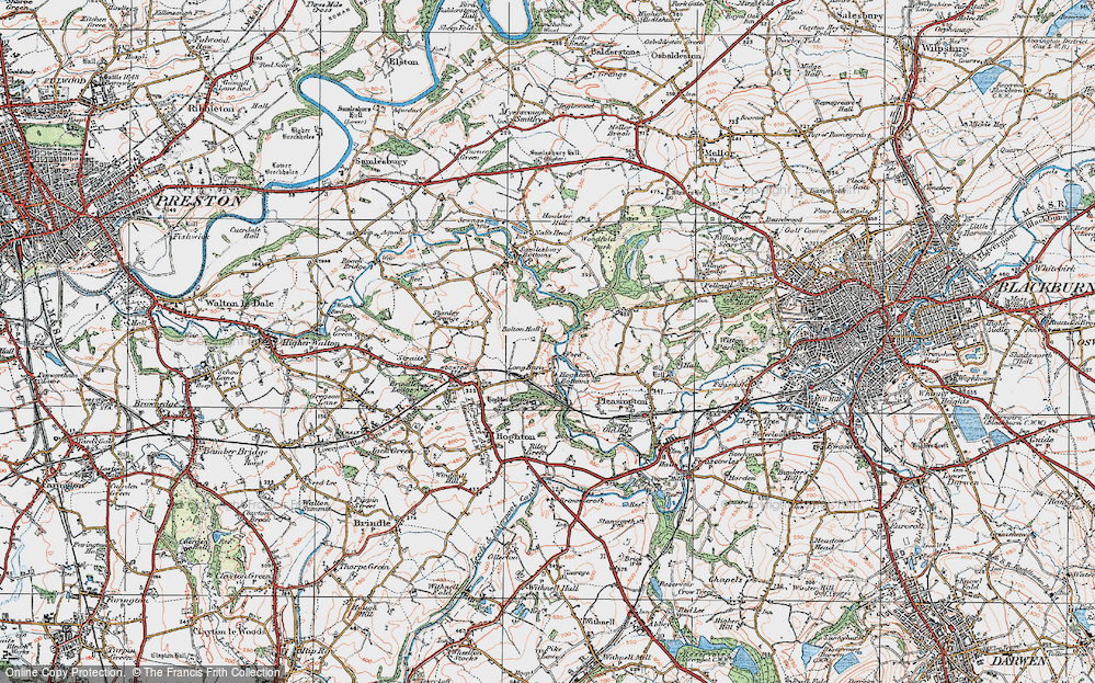 Old Map of Historic Map covering Woodcock Hill in 1924