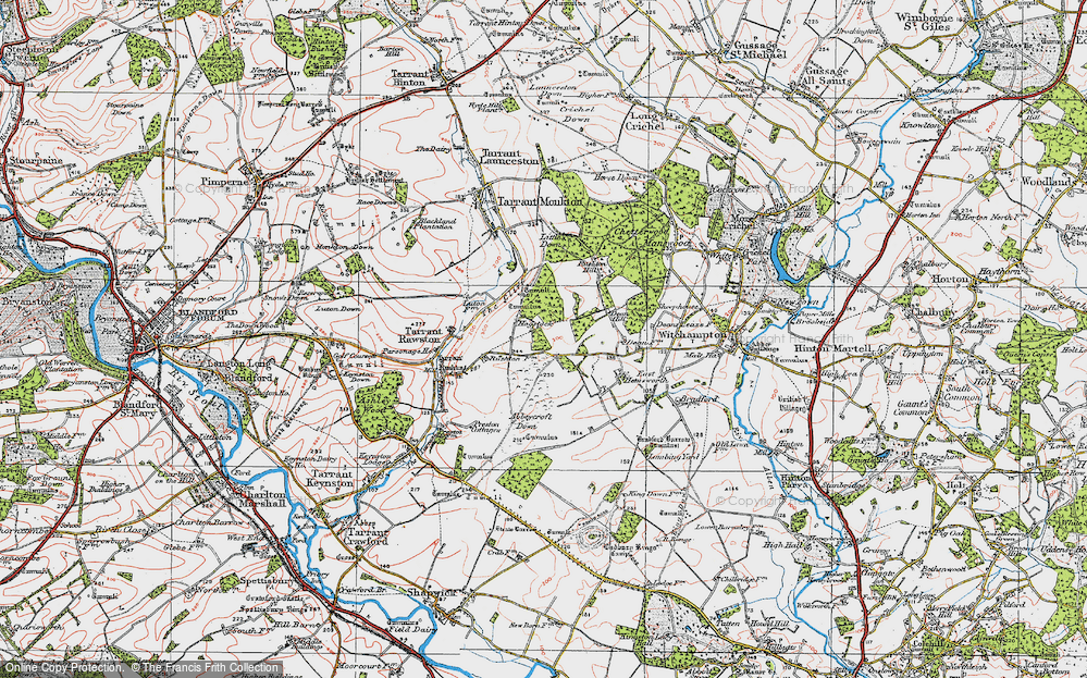 Old Map of Historic Map covering Abbeycroft Down in 1919
