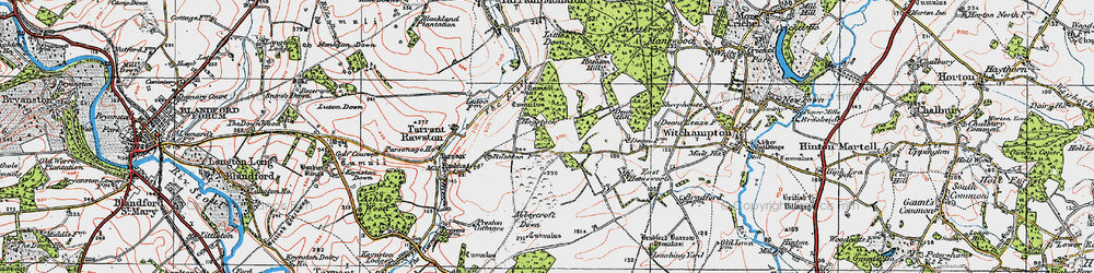 Old map of Abbeycroft Down in 1919