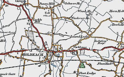 Old map of Holbeach in 1922