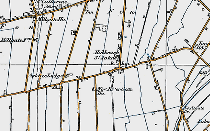 Old map of Whaplode St Catherine in 1922