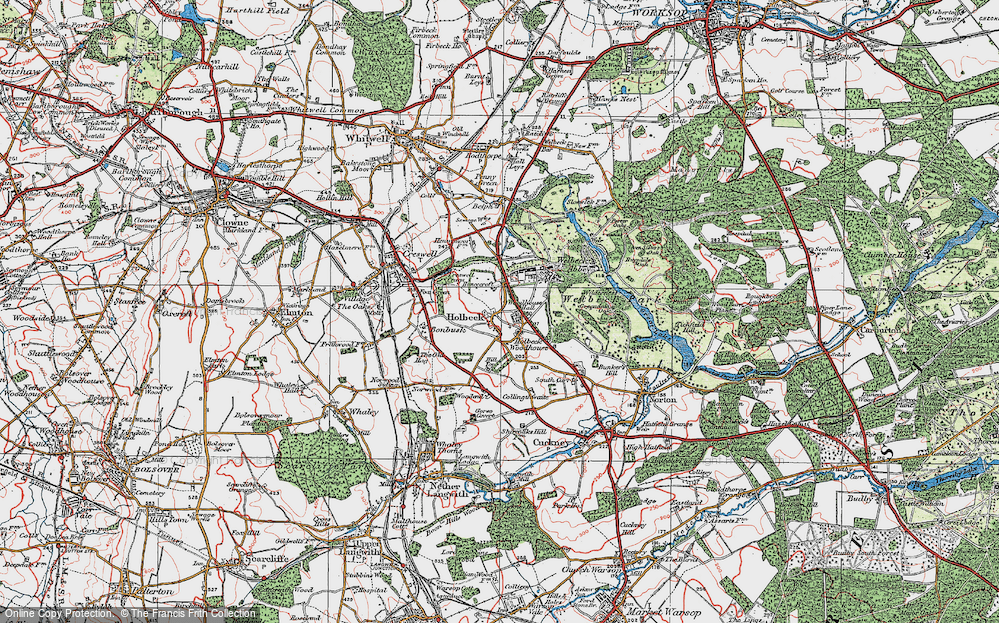 Old Map of Historic Map covering Woodhouse Hall in 1923