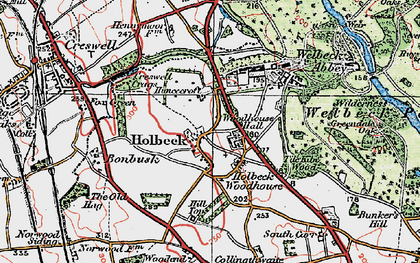 Old map of Tile Kiln Wood in 1923