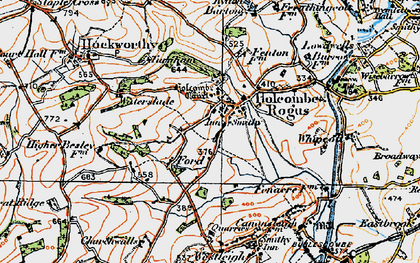 Old map of Holcombe Rogus in 1919