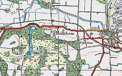 Old map of Holkham in 1921