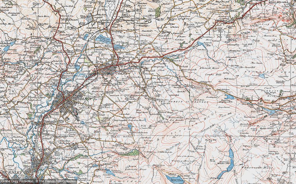 Old Map of Historic Map covering Alder Hurst in 1925