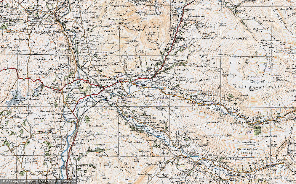 Old Map of Historic Map covering Thursgill in 1925