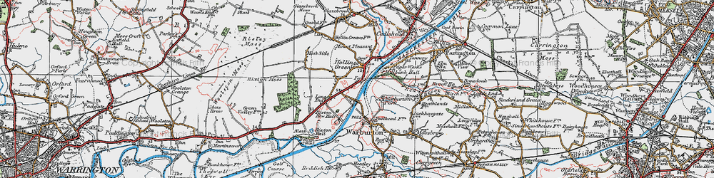 Old map of Hollins Green in 1923