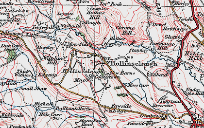 Old map of Fawside Edge in 1923