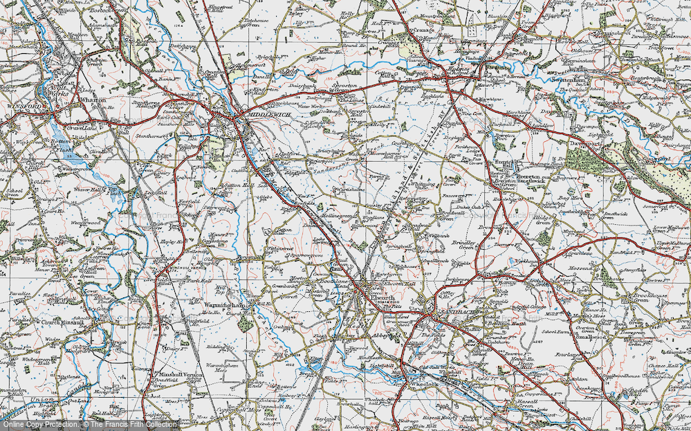 Old Map of Hollinsgreen, 1923 in 1923