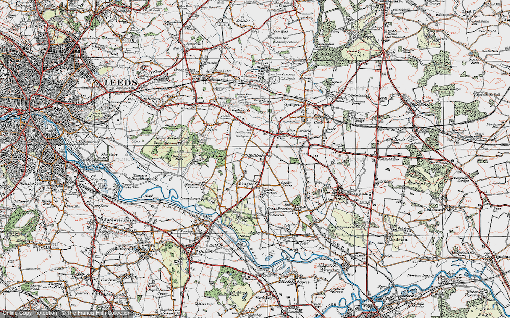 Old Map of Historic Map covering Avenue Wood in 1925
