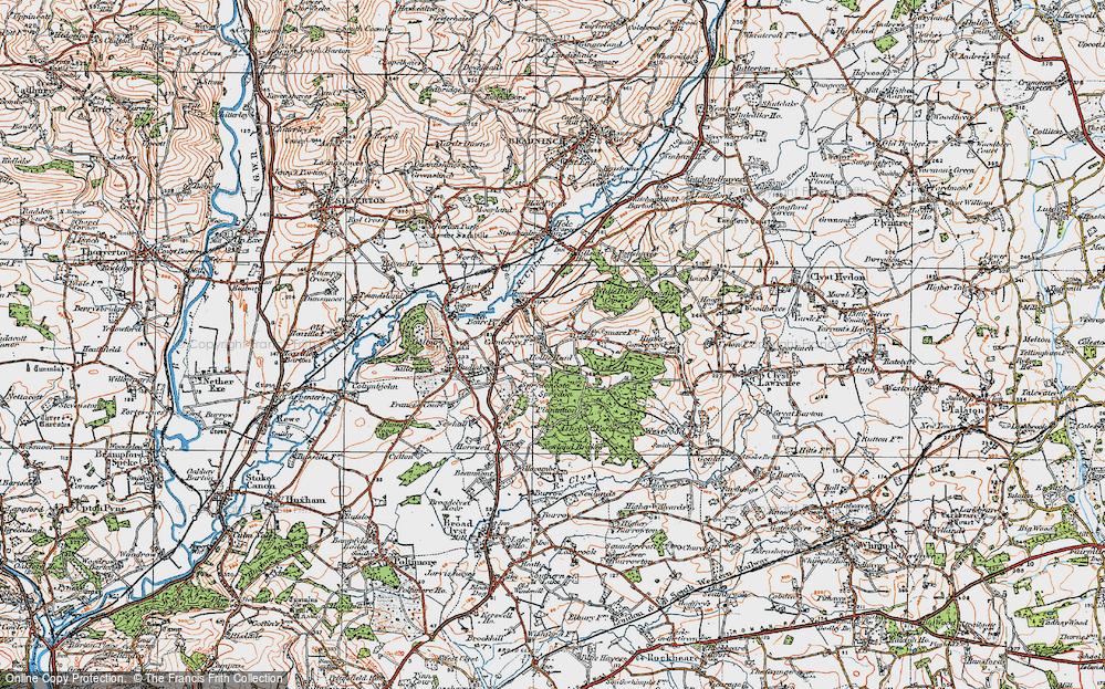 Old Map of Historic Map covering Ashclyst Forest in 1919