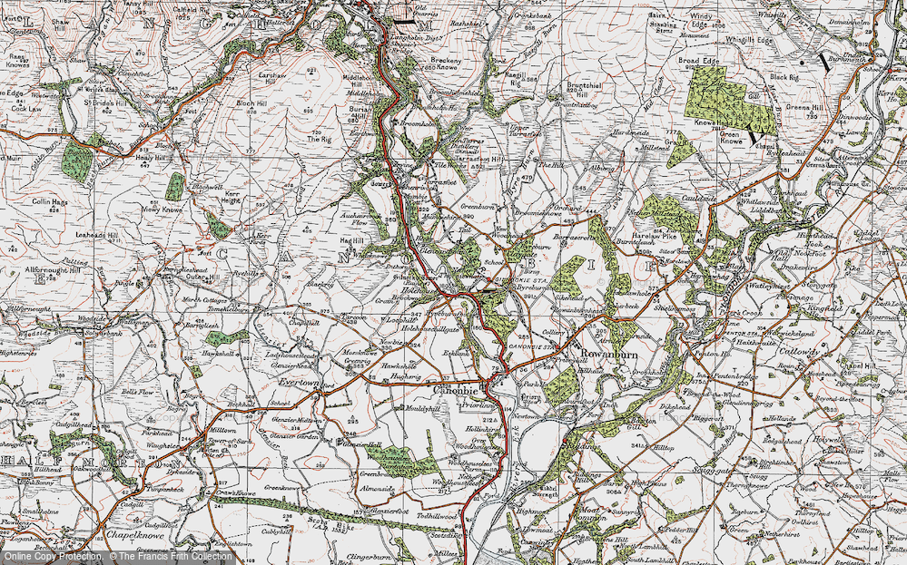 Old Map of Historic Map covering Auchenrivock Flow in 1925