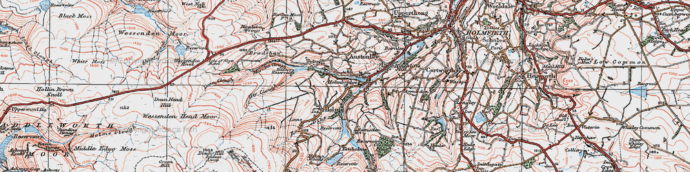 Old map of Holmbridge in 1924