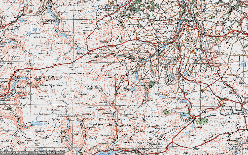 Old Map of Historic Map covering Tooleyshaw Moss in 1924