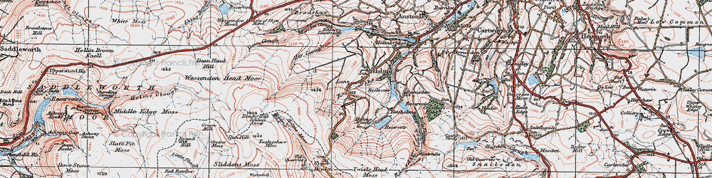 Old map of West Withens Clough in 1924