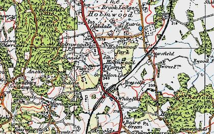 Old map of Holmwood Corner in 1920