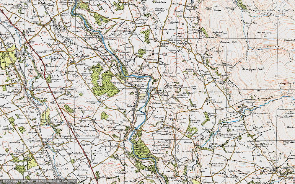 Old Map of Historic Map covering Thwaites in 1925