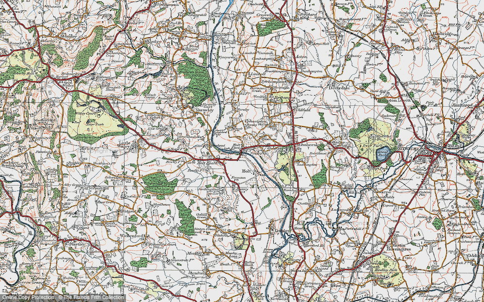 Old Map of Holt Fleet, 1920 in 1920