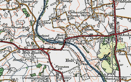 Old map of Holt Fleet in 1920