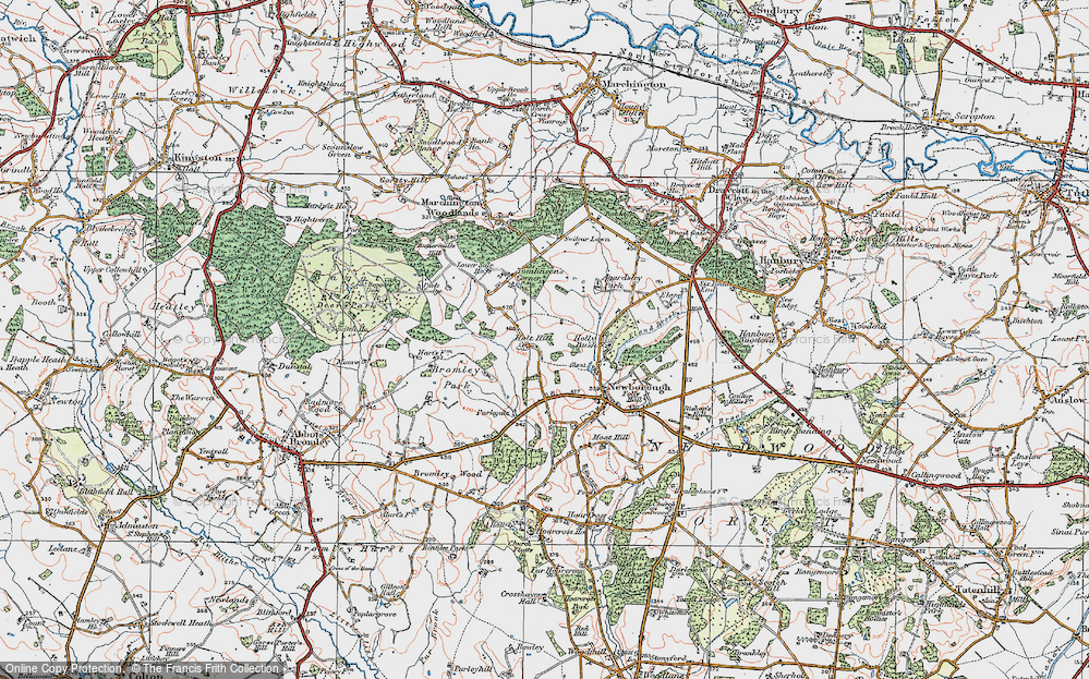 Old Map of Historic Map covering Tomlinson's Corner in 1921