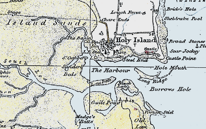Old map of Holy Island in 1926